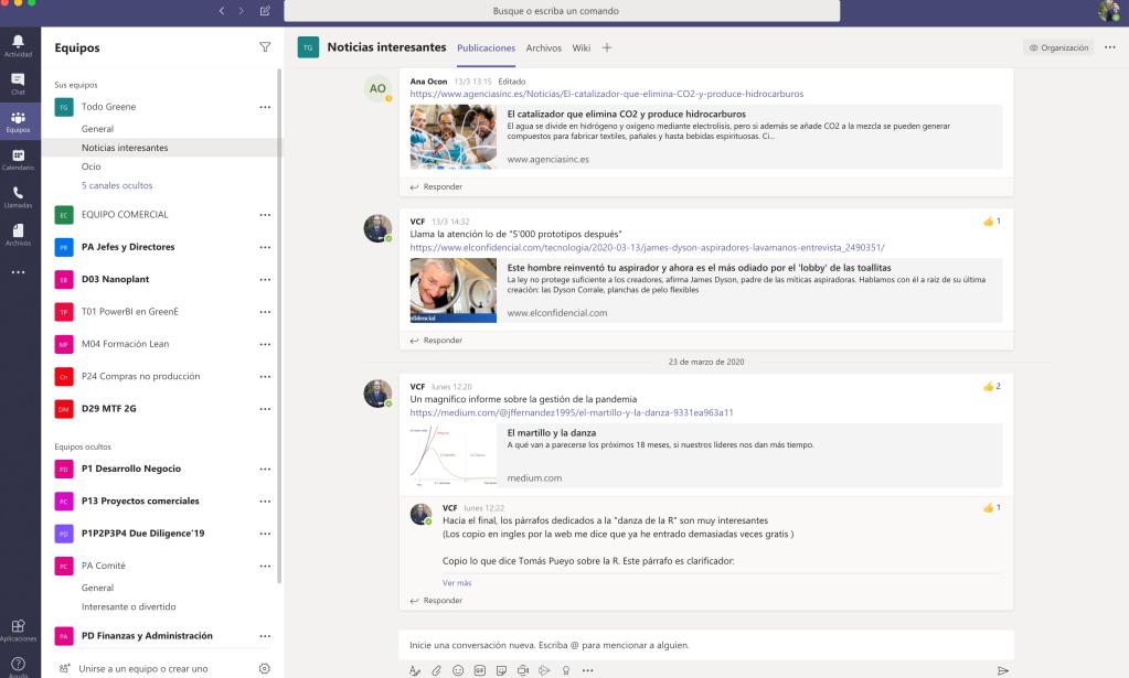 Vista de canales de Microsoft Teams