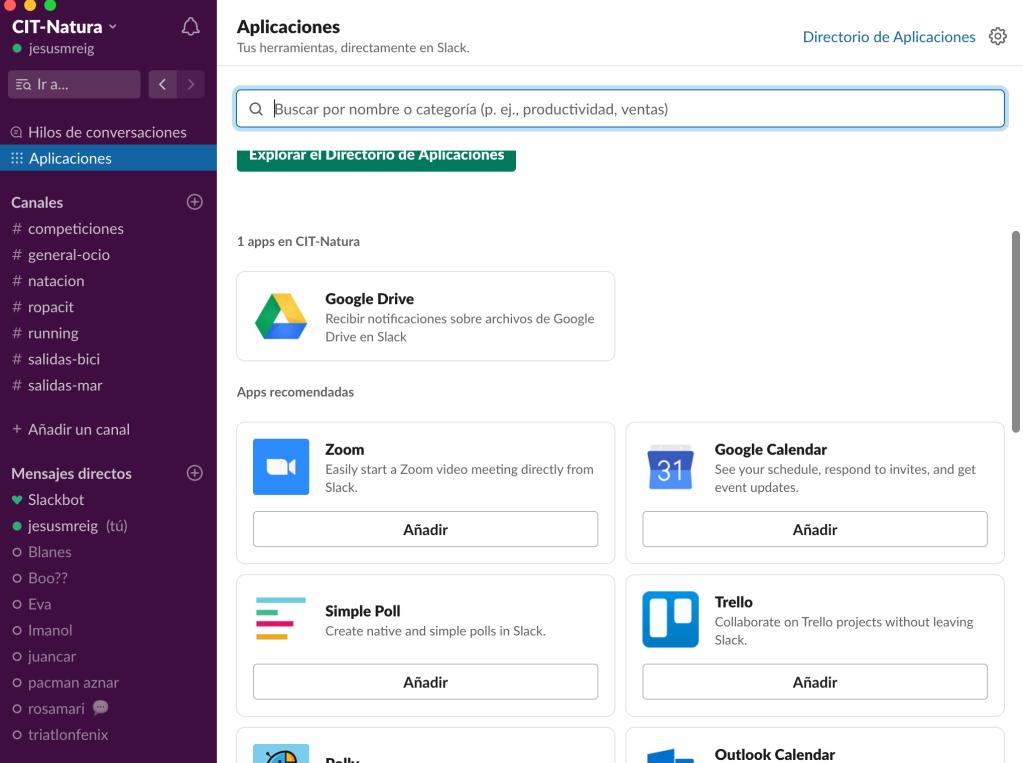 Slack también se puede enlazar con otras aplicaciones